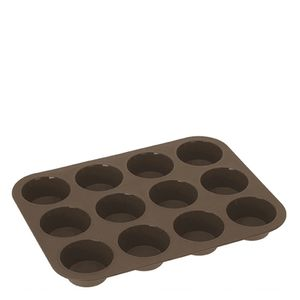 Forma-de-Silicone-para-Muffins-12-Furos-Marrom-25X33CM