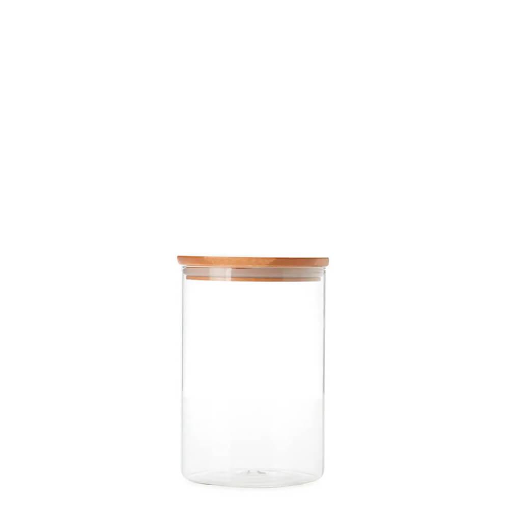 Pote de Vidro Hermético com Tampa de Bambu 250ML