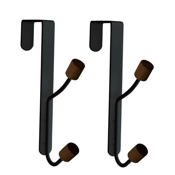 Cabide-de-Metal-e-Madeira-Preto-2PCS