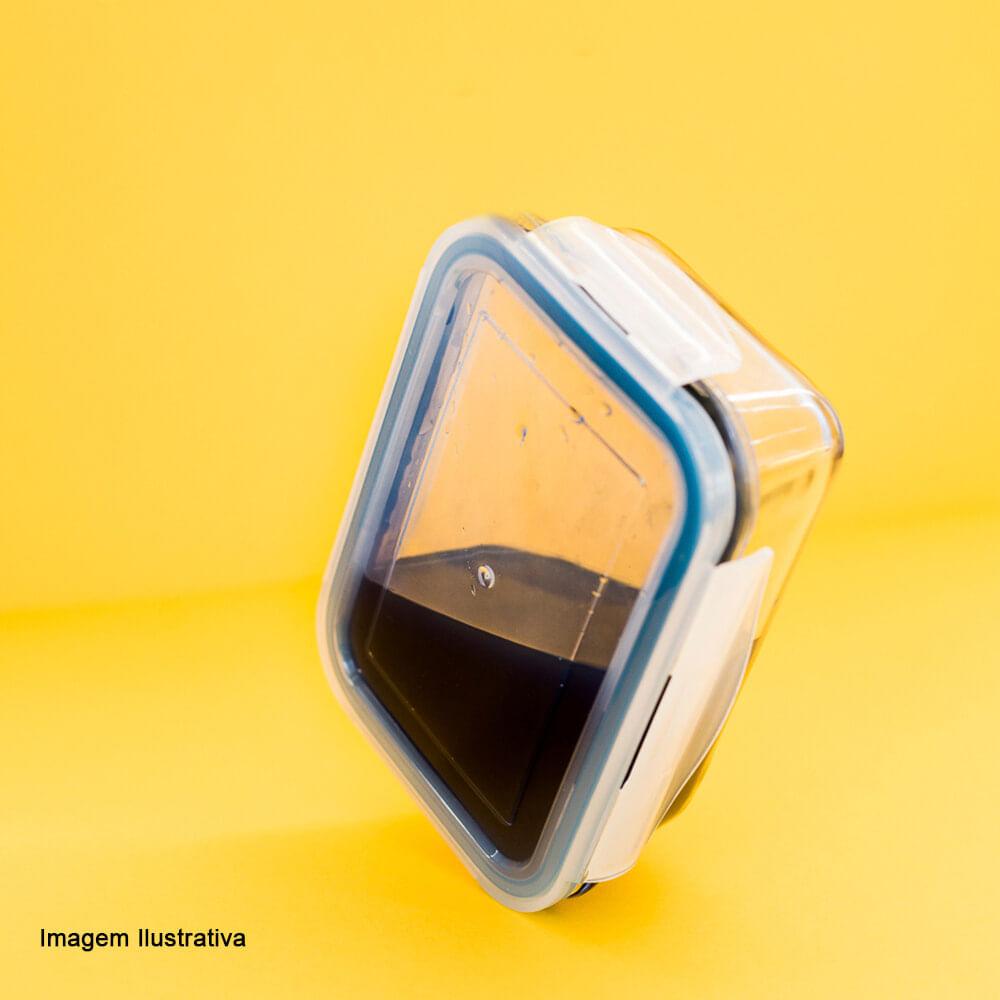 Pote de Vidro Borossilicato Hermético Retangular Azul 1040ML