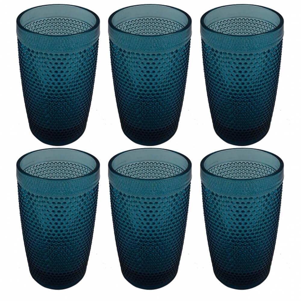 Copo de Vidro Azul 370ML 6PÇS