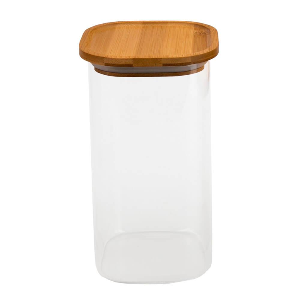 Pote de Vidro Borossilicato Hermético com Tampa de Bambu Quadrado Alto 1900ML