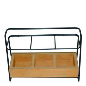 Porta-Talher-de-Metal-Wood-Rack-Preto-23X9X16CM