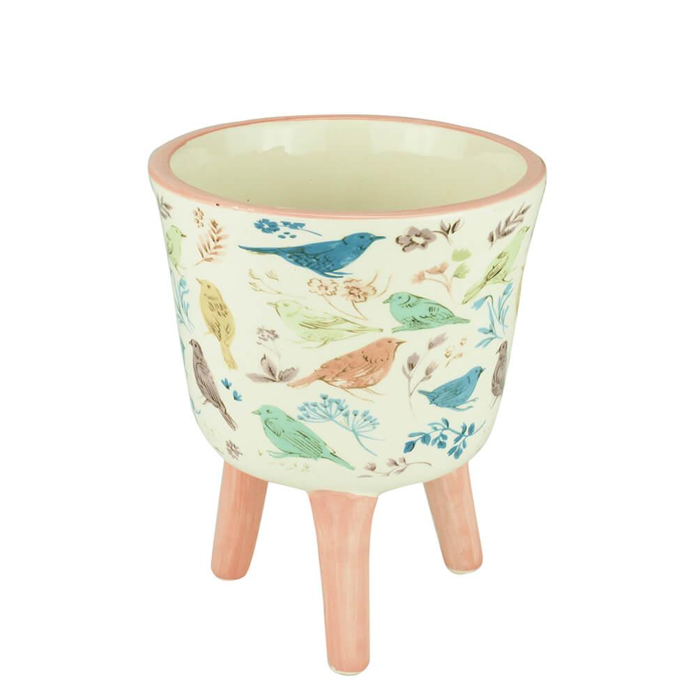 Cachepot de Cerâmica com Pé Birds and Flowers 10X13,5CM
