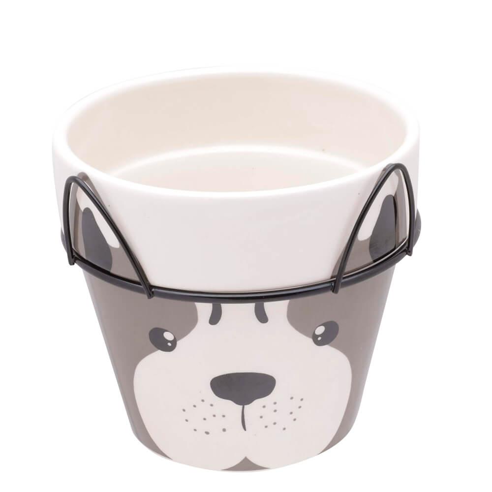 Cachepot de Cerâmica com Suporte Dog Face 12X10,5CM