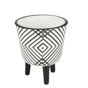 Cachepot-de-Ceramica-com-Pe-Crossed-Lines-Branco-e-Preto-10X13CM