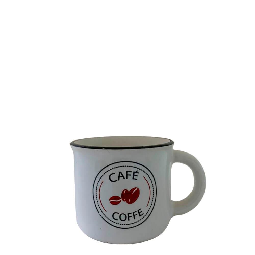 Mini Caneca de Cerâmica Café Coffe Branca 60ML