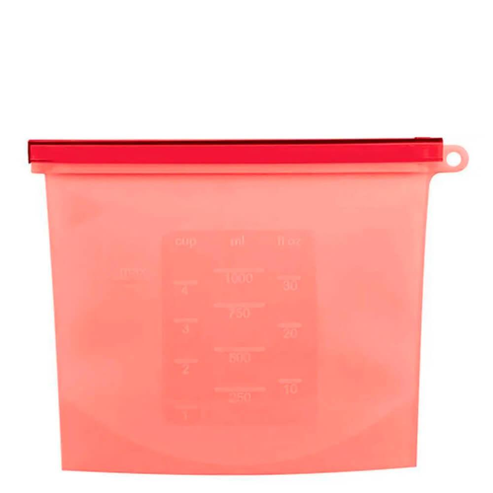 Saco de Silicone Freezer e Micro-Ondas Vermelho 20X17CM 1L