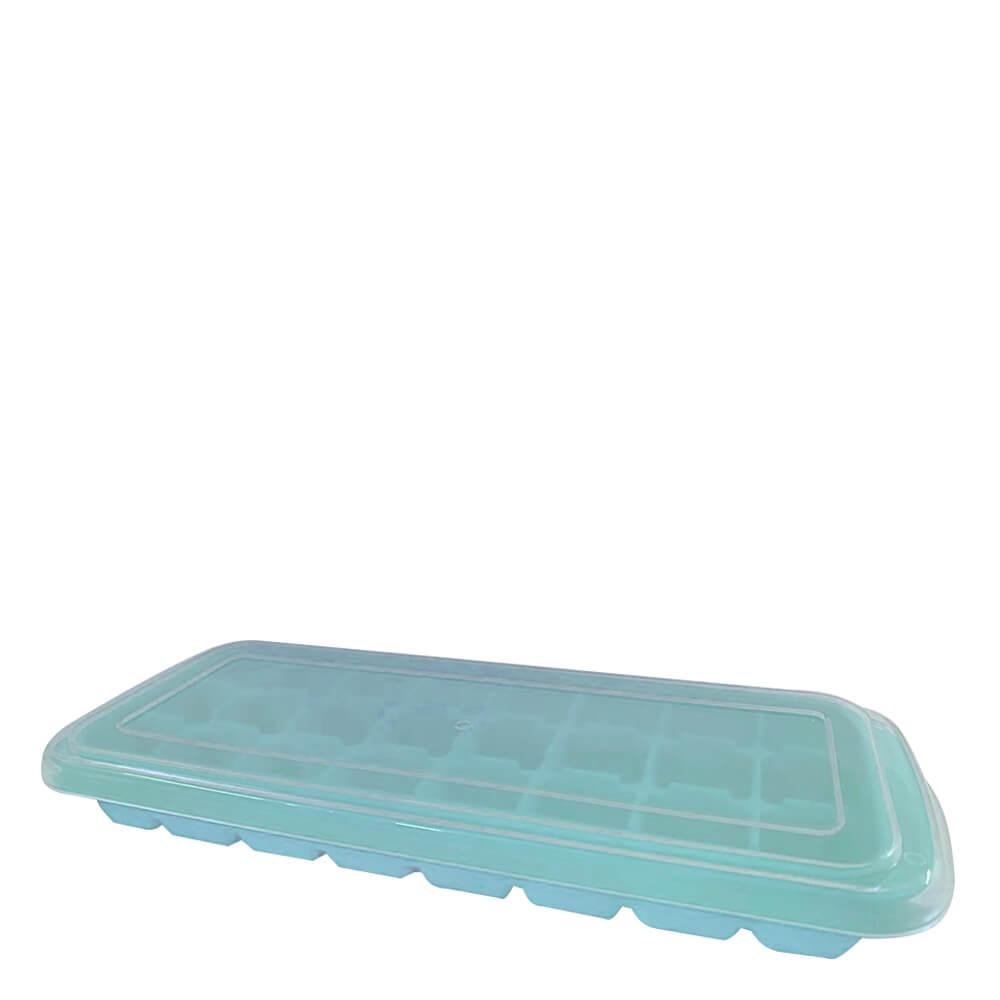 Forma de Gelo de Silicone 24 Cubos Azul com Tampa 25X10X3CM