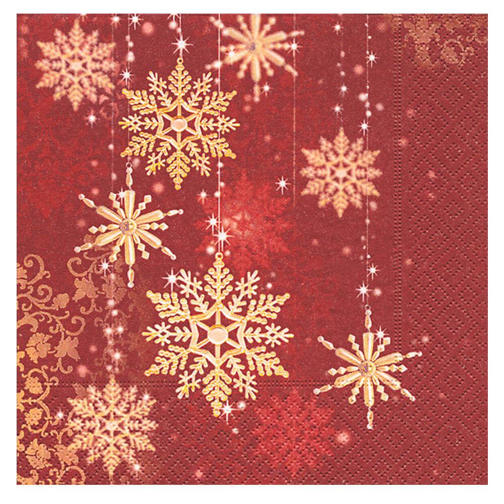 Guardanapo de Papel Golden Snowflakes 20PÇS 33X33CM