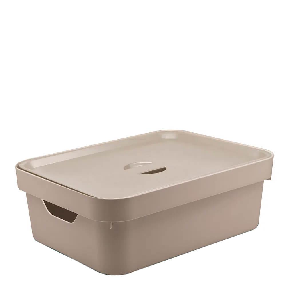 Caixa Organizadora com Tampa Cube OU Bege 36X26X13CM