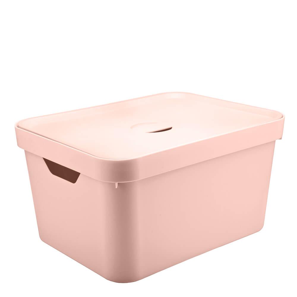 Caixa Organizadora com Tampa Cube OU Rosa Nude 45X35X24CM