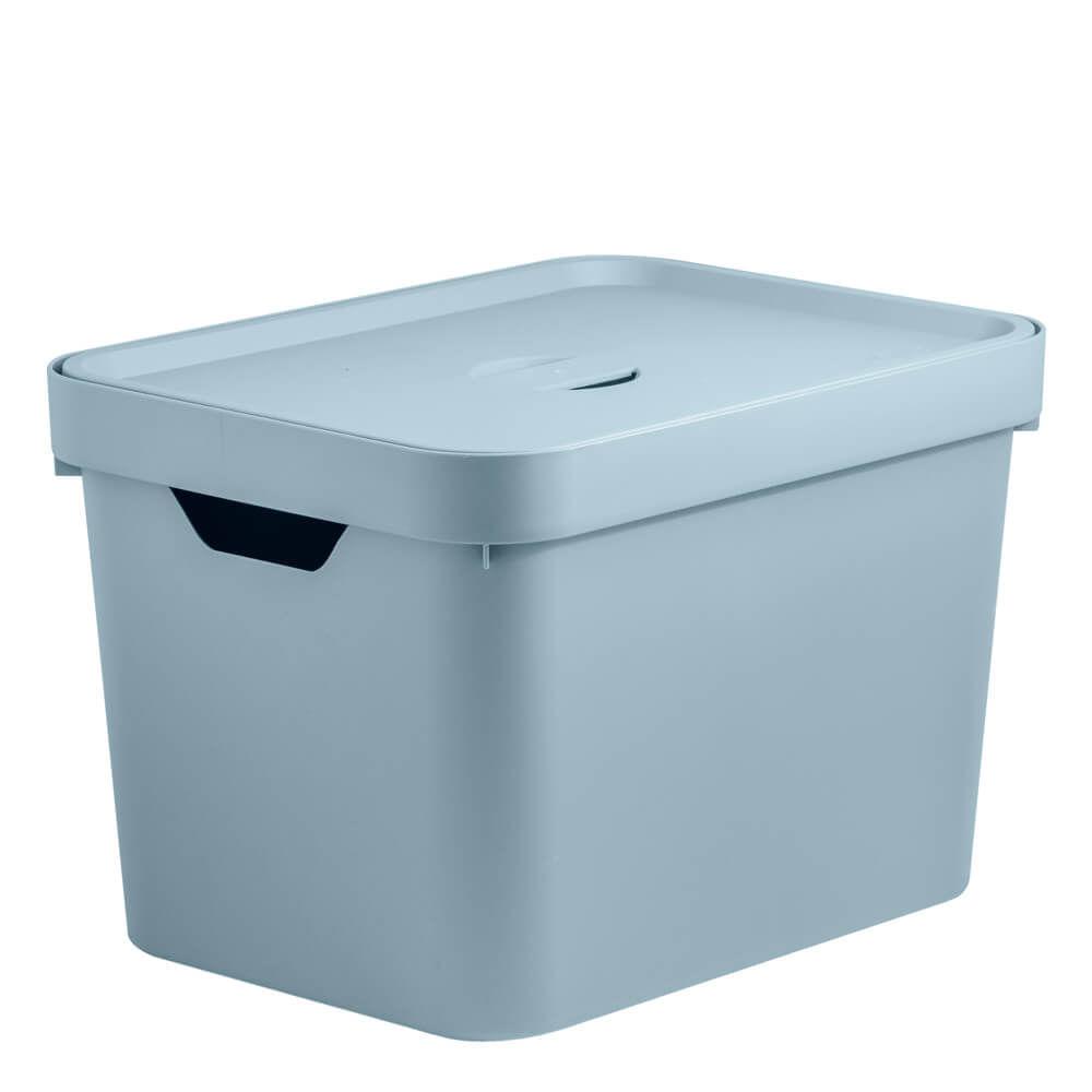 Caixa Organizadora com Tampa Cube OU Azul Glacial 36X27X24CM
