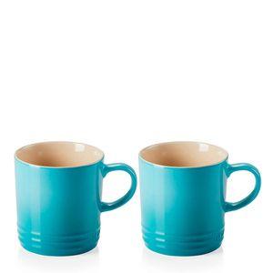Conjunto-Caneca-de-Ceramica-Cha-Le-Creuset-Azul-Caribe-350ML-2PCS