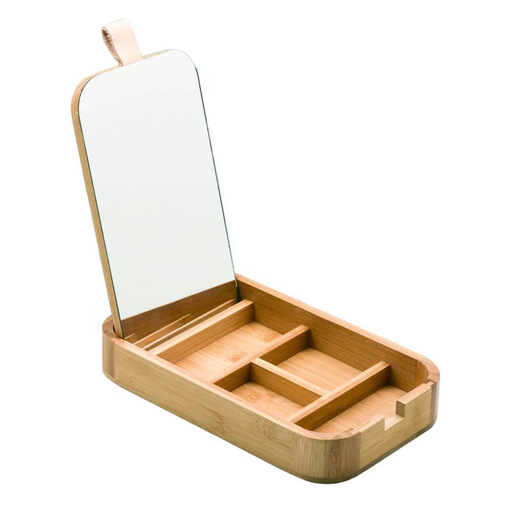 Caixa Organizadora de Bambu com Espelho 25x14x3,5CM