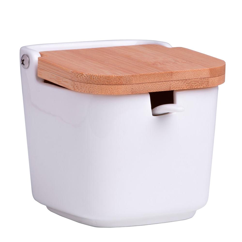 Saleiro de Porcelana Quadrado com Tampa de Bambu 9X8CM