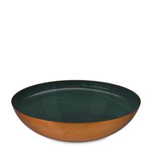Bowl-de-Metal-Esmaltado-Verde-Escuro-e-Dourado-40CM