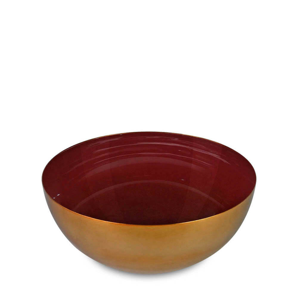 Bowl de Metal Esmaltado Vinho e Dourado 26CM