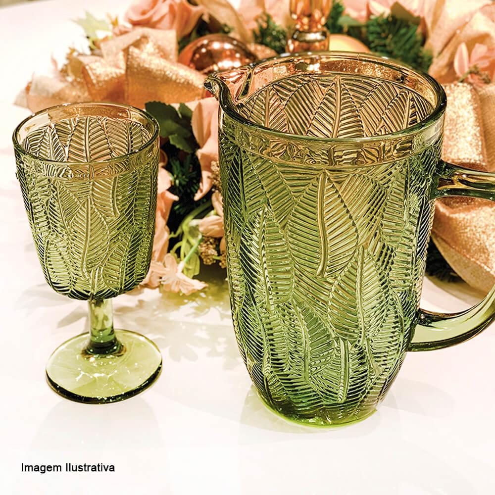 Taça para Água de Vidro Leaves Verde 320ML 6PÇS