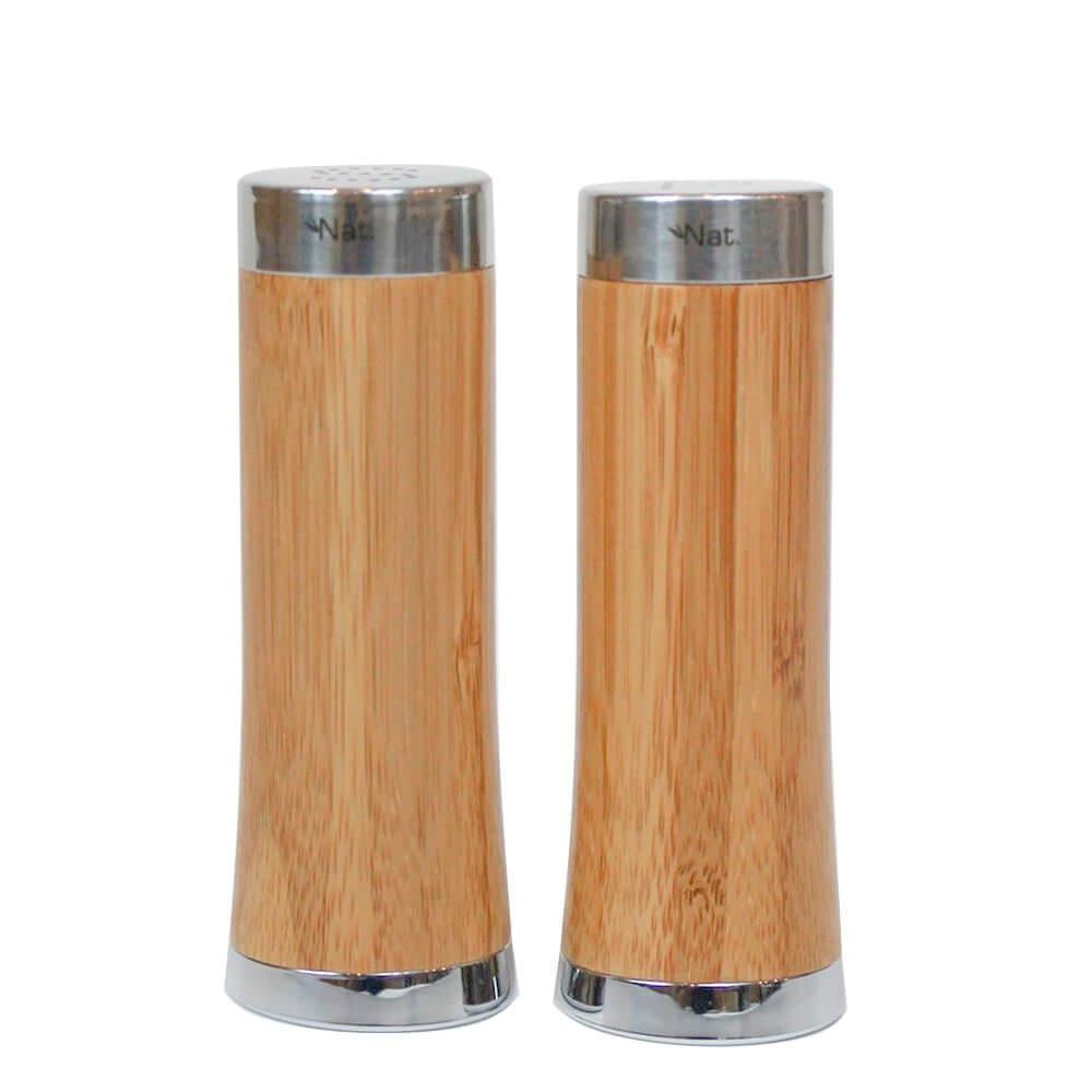 Saleiro e Pimenteiro de Bambu e Aço Inox Bretanha 2PÇS