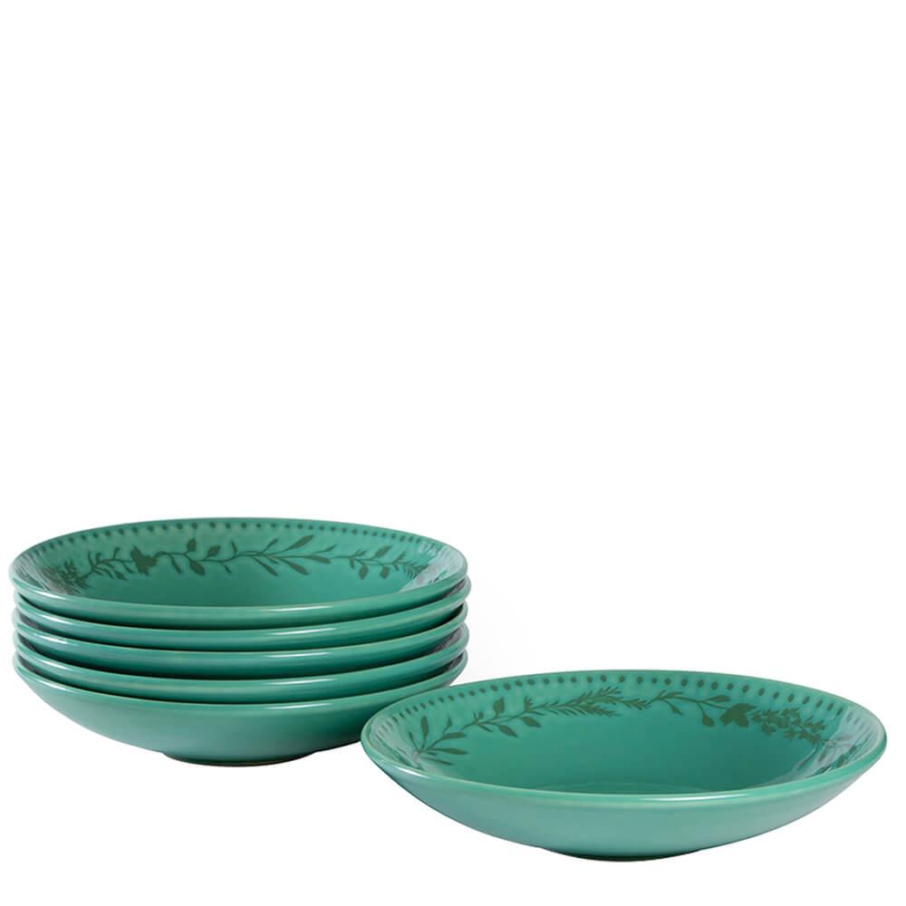 Prato para Salada de Cerâmica Coleção Ervas Acervo Panelinha 21CM 6PÇS