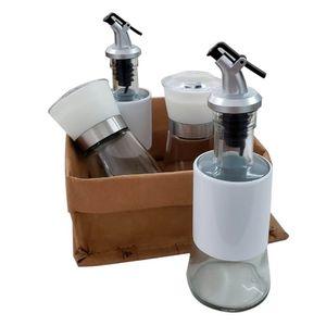 Conjunto-Galheteiro-Vidro---Moedor-Sal-e-Pimenta-Branco-com-Cesto-de-Kraft-5PCS