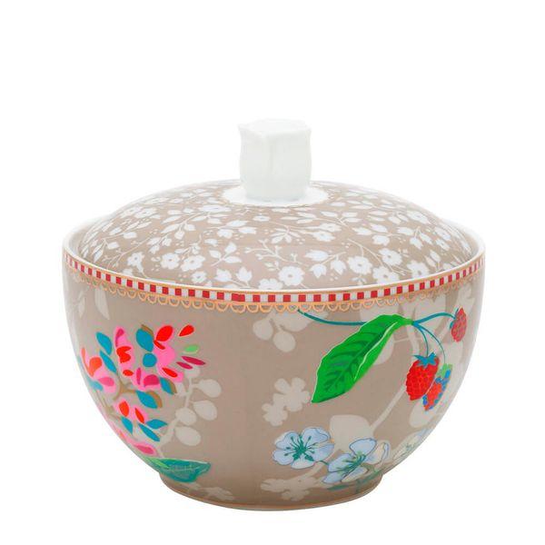 Acucareiro-de-Porcelana-Birds-Floral-Pip-Studio-Bege-300ML