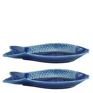 Petisqueira-de-Ceramica-Peixe-Ocean-Azul-28CM-2PCS
