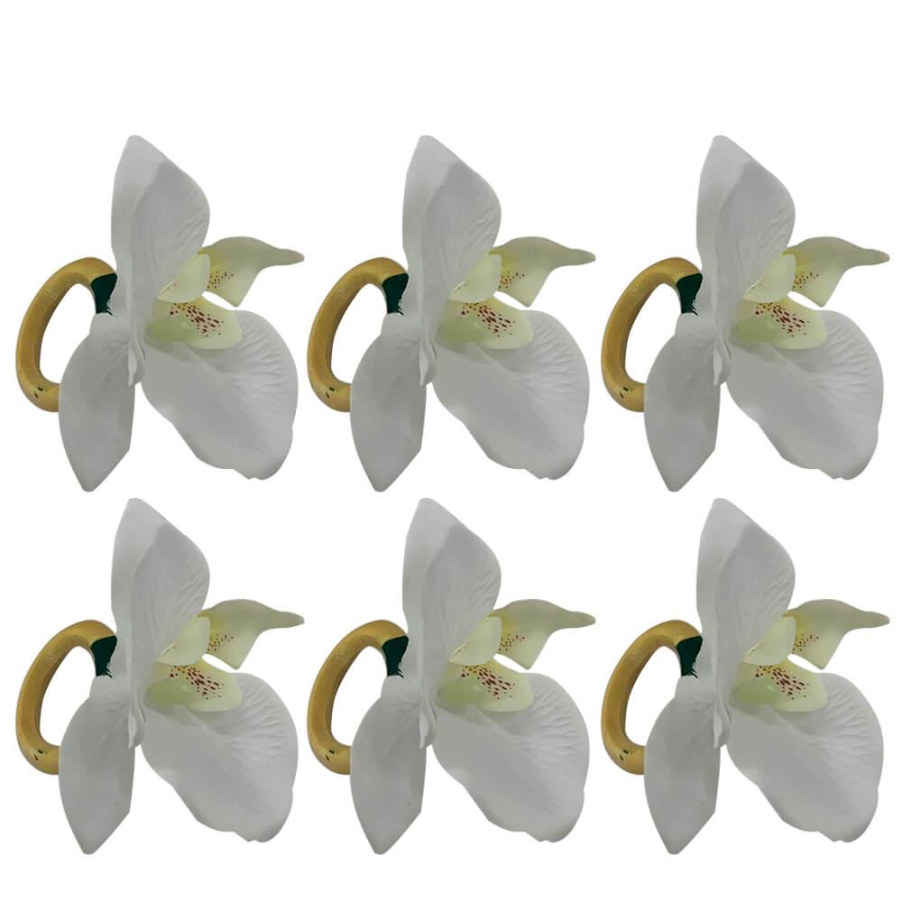 Argola para Guardanapo Orquídeas Branca 6PÇS