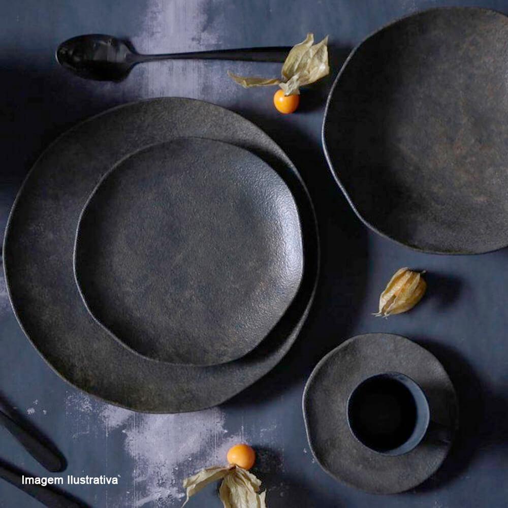 Prato para Sobremesa de Cerâmica Orgânico Porto Brasil Preto Matte 19CM 6PÇS
