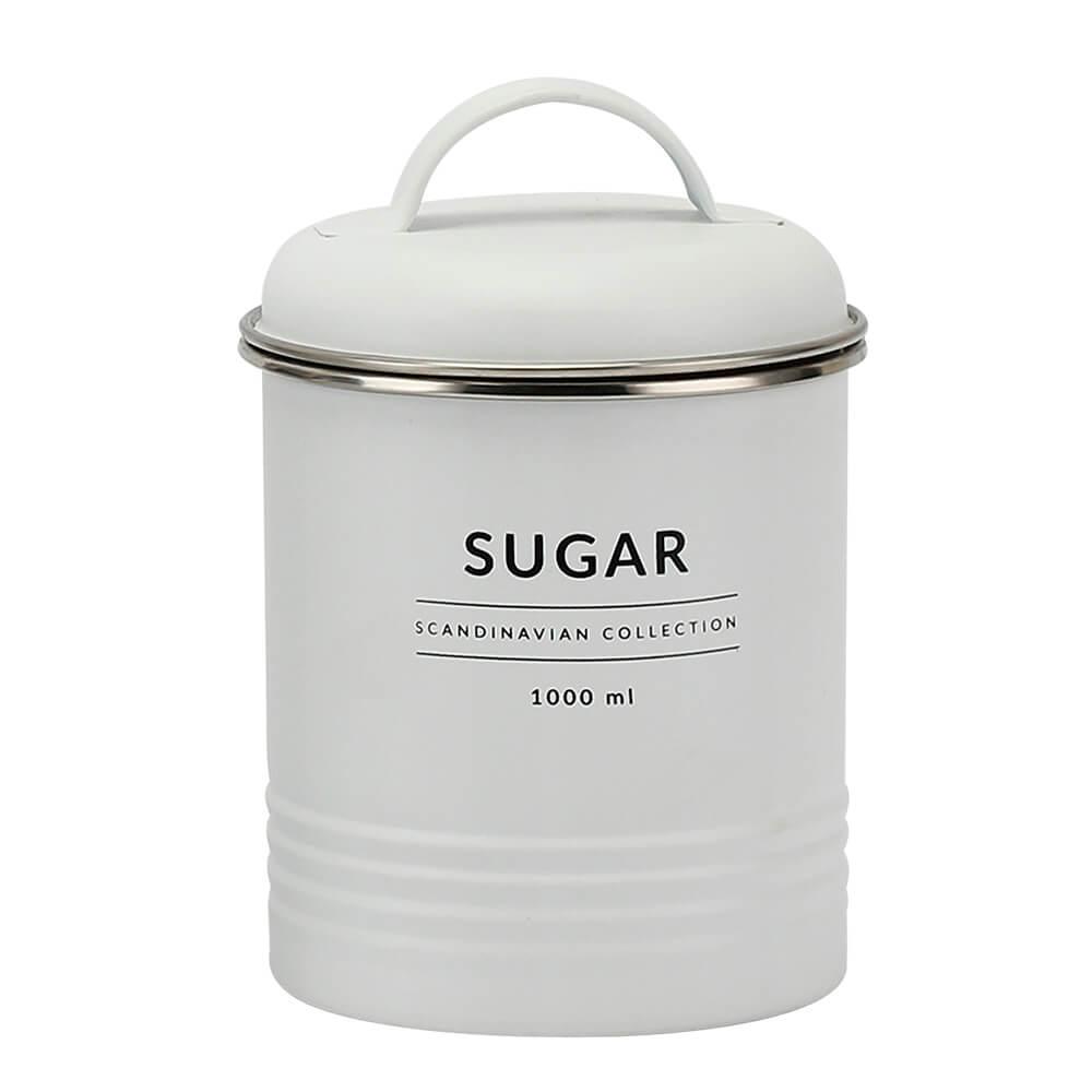 Lata Hermética para Açucar de Metal Copenhag Sugar Branco 1L