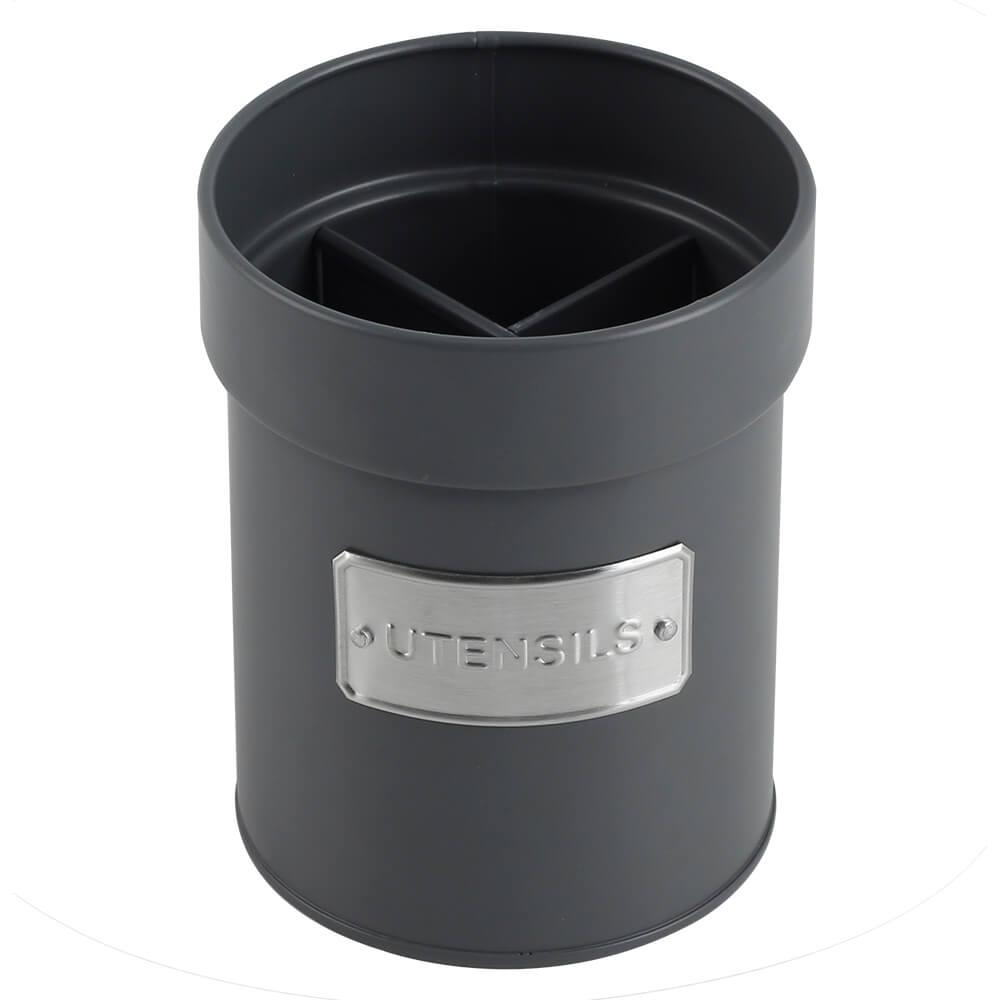 Porta Utensílios de Metal com Divisórias Removíveis Matte Cinza 11X14CM