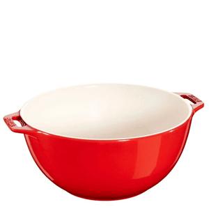 Bowl-de-Ceramica-com-Alca-Staub-Vermelho-Cereja-25CM
