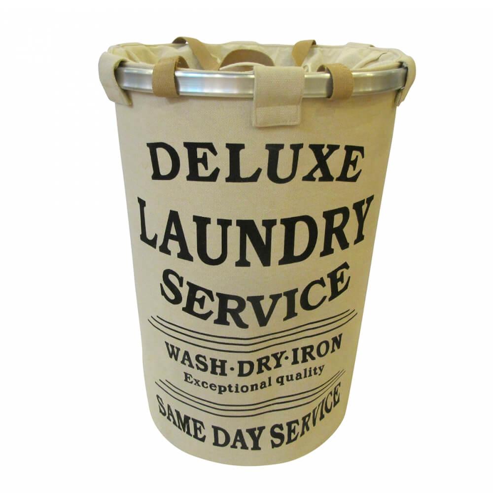 Cesto de Roupa de Algodão Laundry Service Cinza 40X55CM