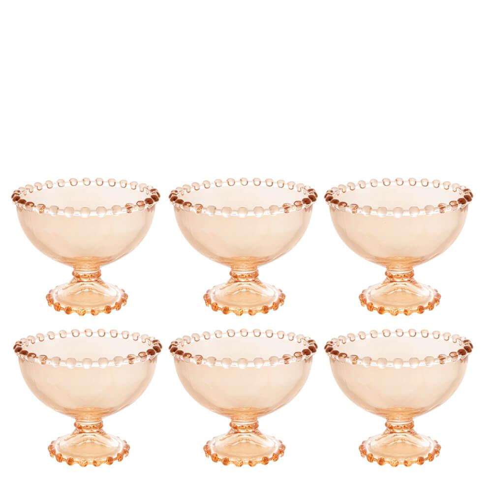 Conjunto Taça de Sobremesa de Cristal Pearl Wolff Ambar 11X9CM 6PÇS