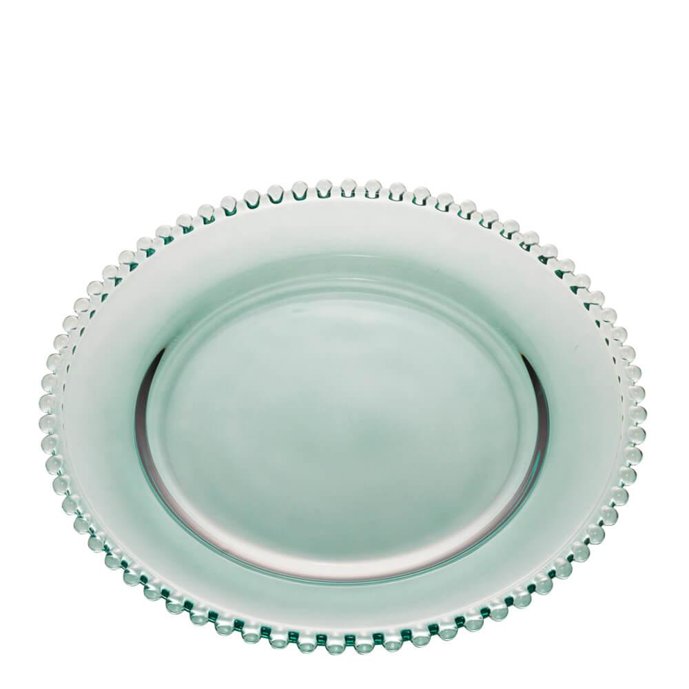 Sousplat de Cristal Pearl Wolf Verde 32CM