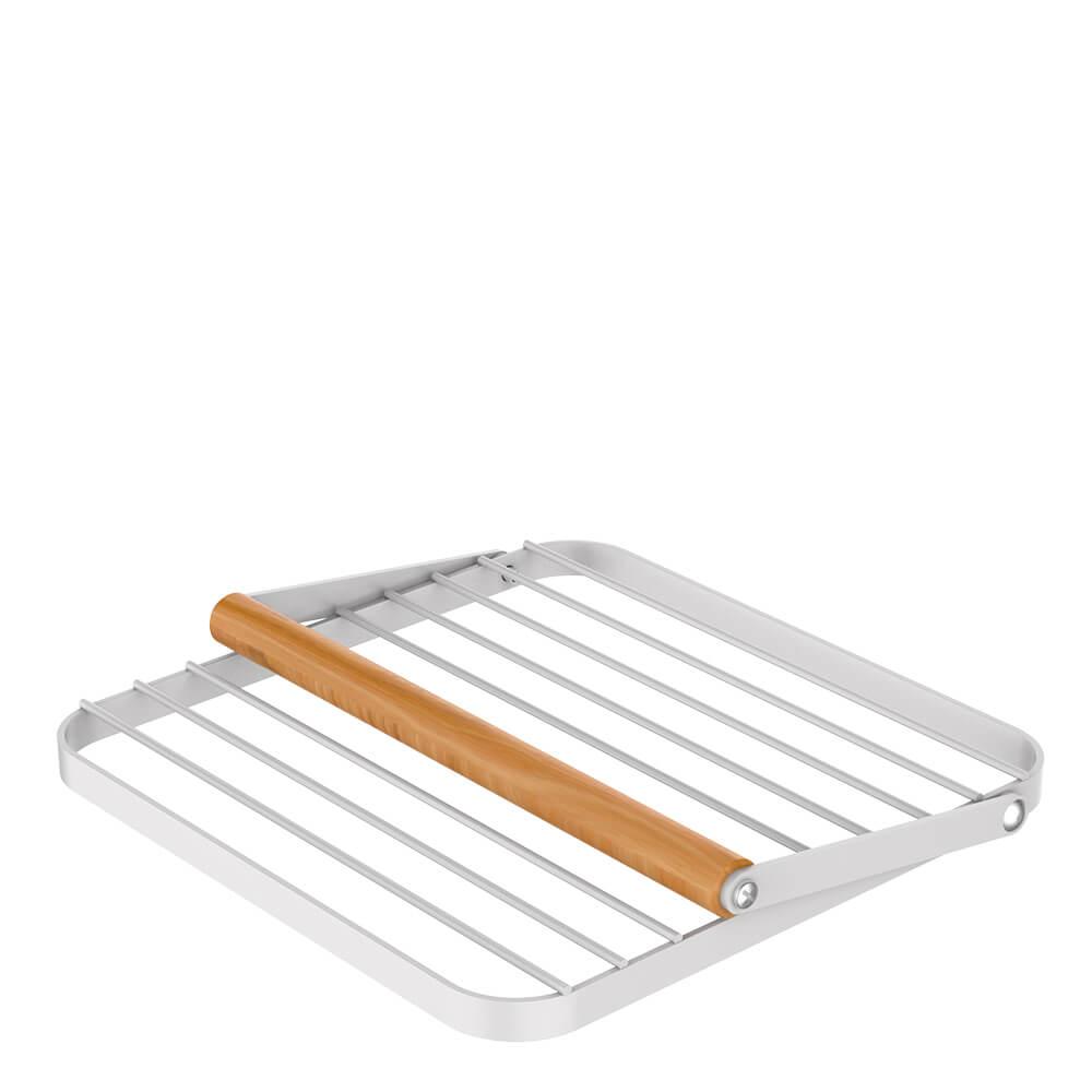 Porta Guardanapo de Aço Carbono e Madeira Metalla Branco 19X18CM