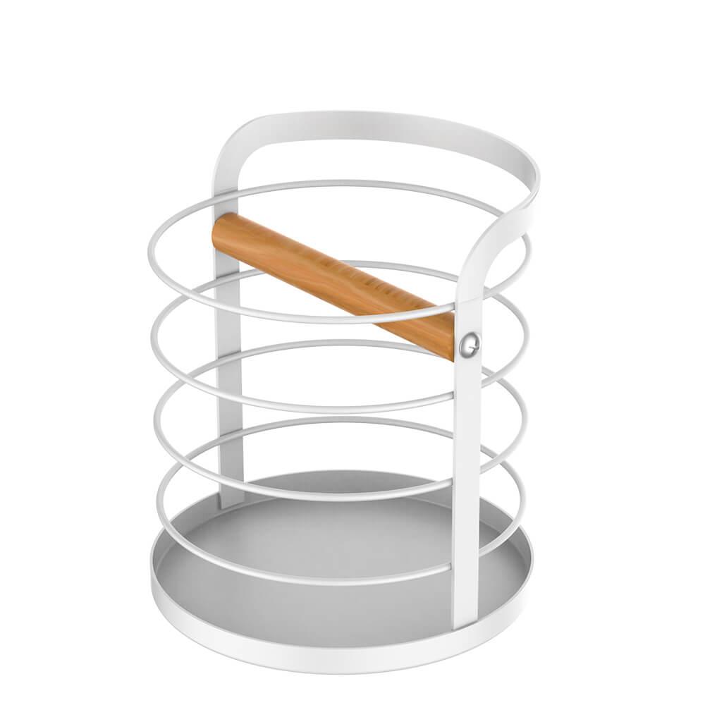 Porta Utensílios de Aço Carbono e Madeira Metalla Branco 13X14,5CM
