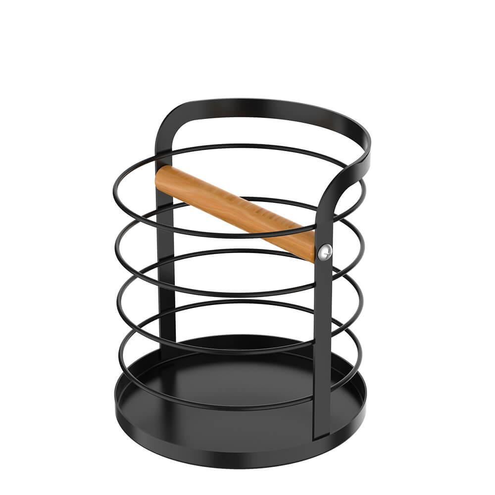 Porta Utensílios de Aço Carbono e Madeira Metalla Preto 13X14,5CM