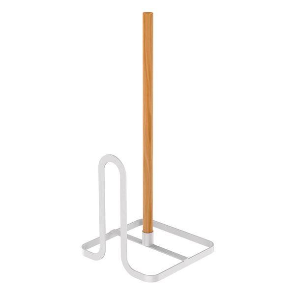 Porta-Papel-Toalha-de-Aco-Carbono-e-Madeira-Metalla-Branco-14X34CM