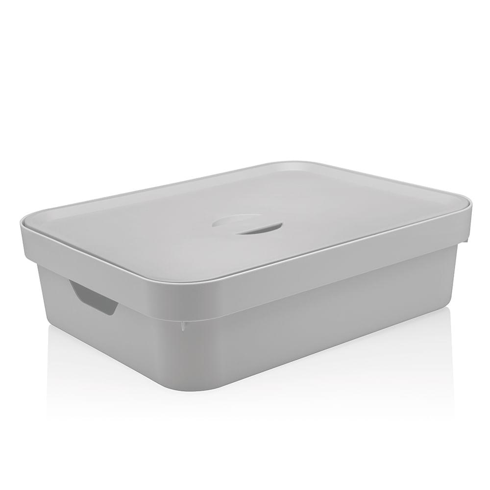 Caixa Organizadora com Tampa Cube OU Branca 45X35CM 3PÇS