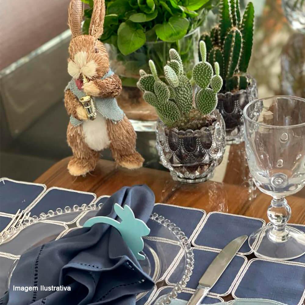 Argola para Guardanapo de Madeira Auguri Casa Bunny Candy Azul 4PÇS