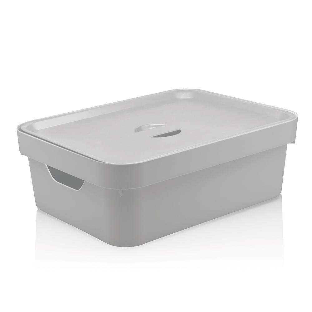 Caixa Organizadora com Tampa Cube OU Branca 36X27CM 3PÇS