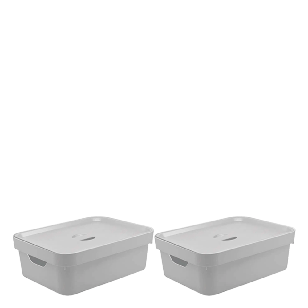 Caixa Organizadora com Tampa Cube OU Branco 45X35X13CM 2PÇS