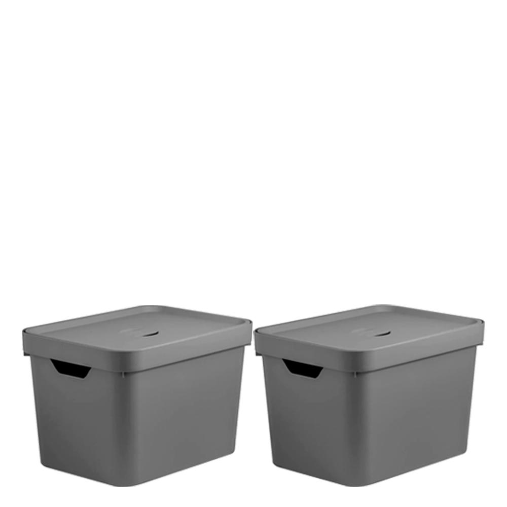 Caixa Organizadora com Tampa Cube OU Cinza 45X35X24CM 2PÇS