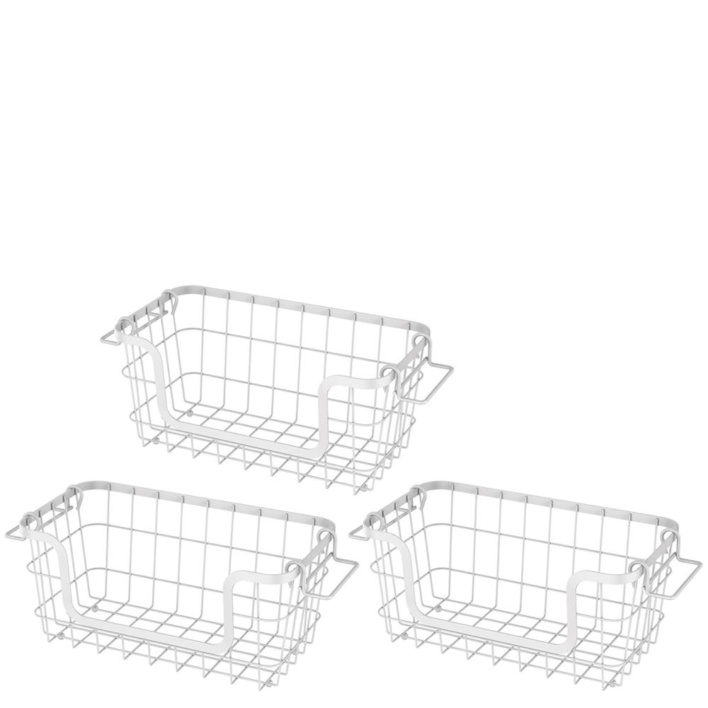 Cesto Organizador de Aço Carbono Empilhável Metalla Branco 30X16X14CM 3PÇS