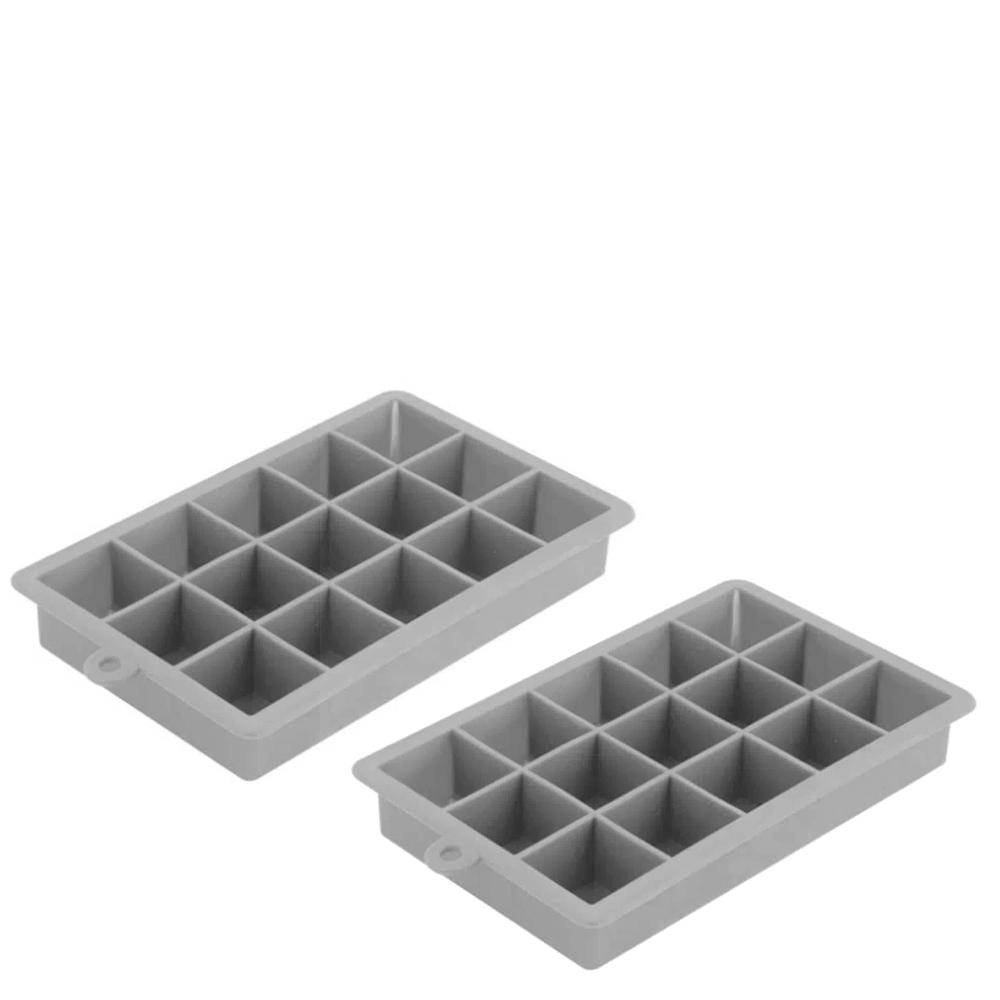 Forma de Gelo de Silicone 15 Cubos Cinza 18X11,5X3CM 2PÇS