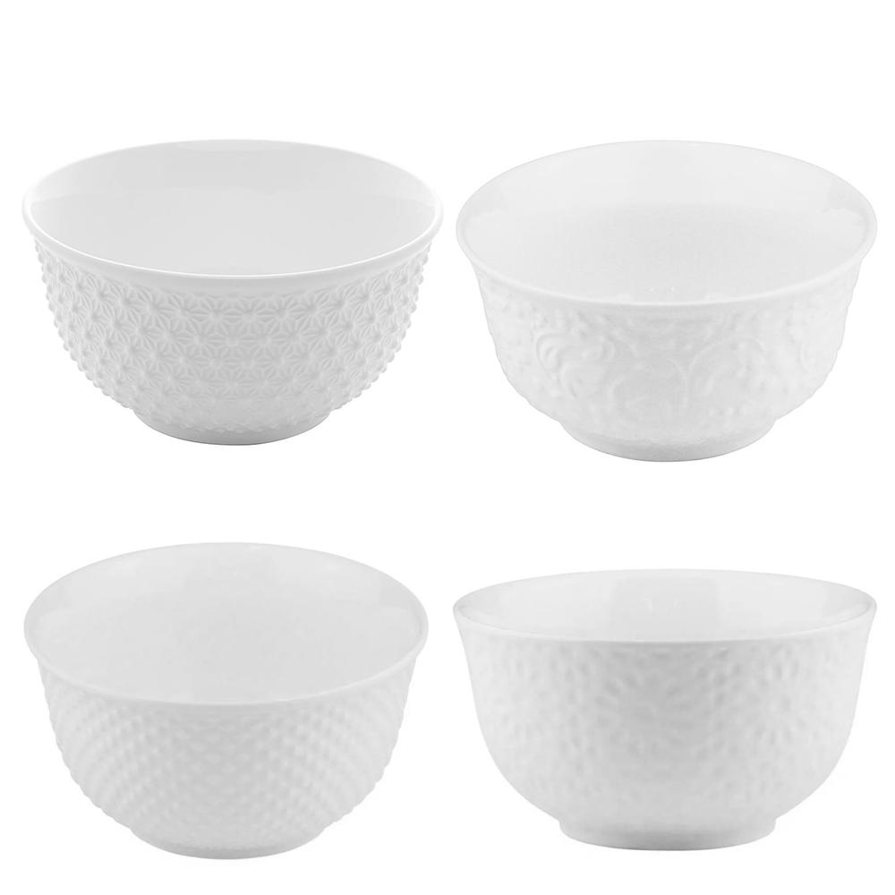 Bowl de Porcelana New Bone Branco 12X6CM 4PÇS