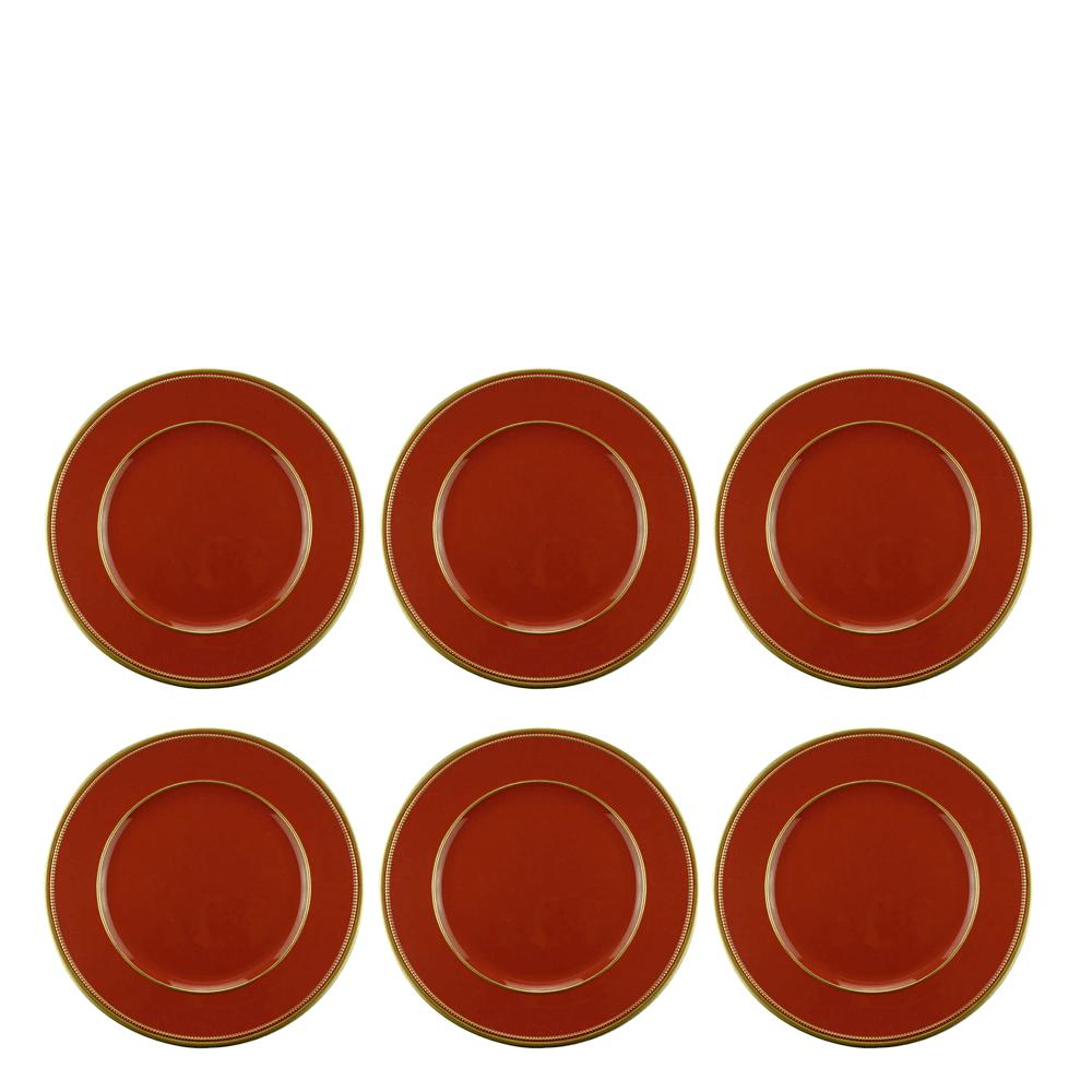 Sousplat Vermelho com Borda Dourada 33CM 6PÇS