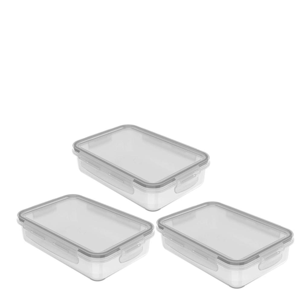 Pote Hermético de Plástico Click OU 870ML 3PÇS